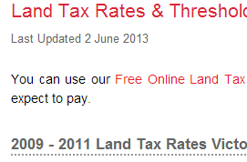 Land Tax Rates   Thresholds VIC